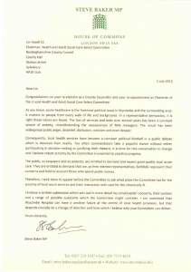 Letter seeking leave to appear before the Committee to ask what plans the Committee has for the scrutiny of local acute services and their interaction with care for the chronically ill.