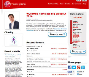 Virgin Giving page