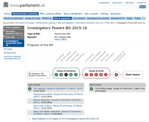 Link to Parliament.uk page for the Investigatory Powers Bill