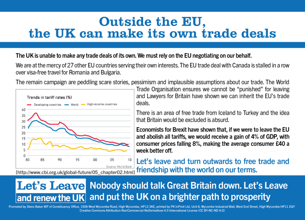 Outside the EU, the UK can make its own trade deals]