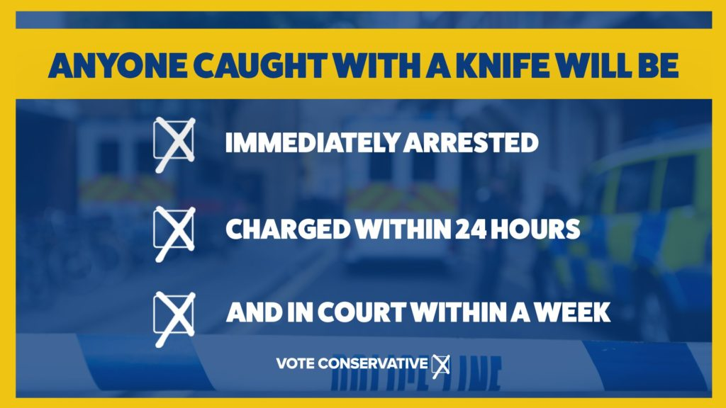 Anyone caught with a knife will be immediately arrested, charged within 24 hours, and in court within a week