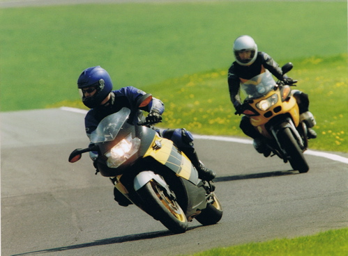 Steve on his K1200S at Cadwell