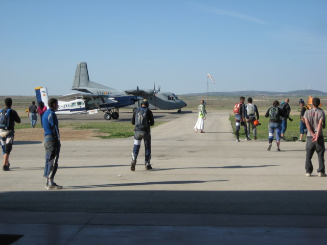 A busy skydiving event at Lillo, Spain